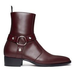 Enzo 40mm Harness Zip Boot - Burgundy Leather