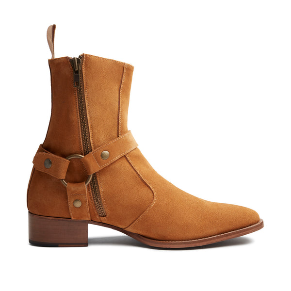 Womens Elisa 40mm Harness Zip Boot - Camel Suede