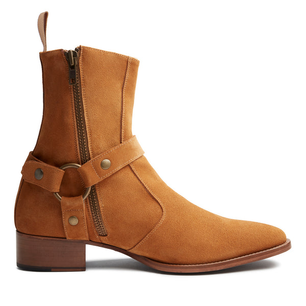 Enzo 40mm Harness Zip Boot - Camel Suede