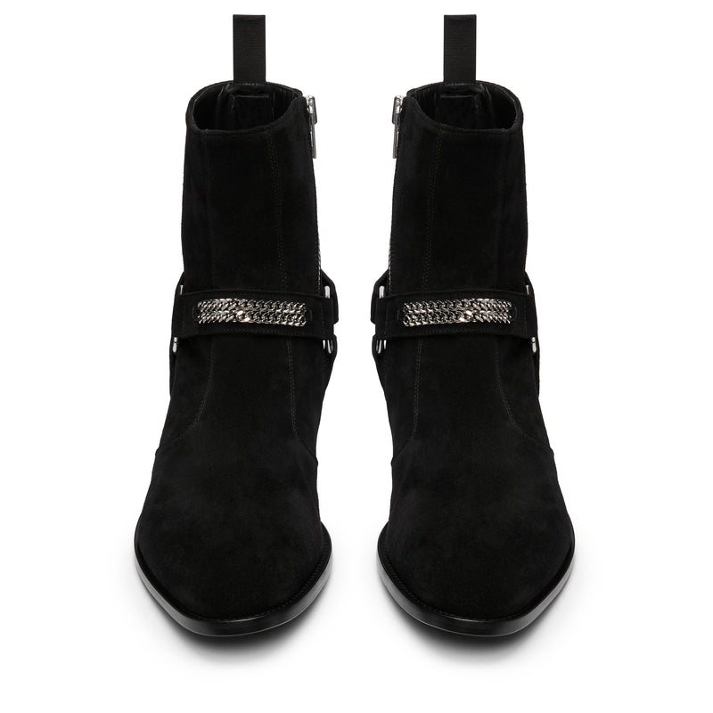 Enzo 40mm Chain Harness Zip Boot - Black Suede