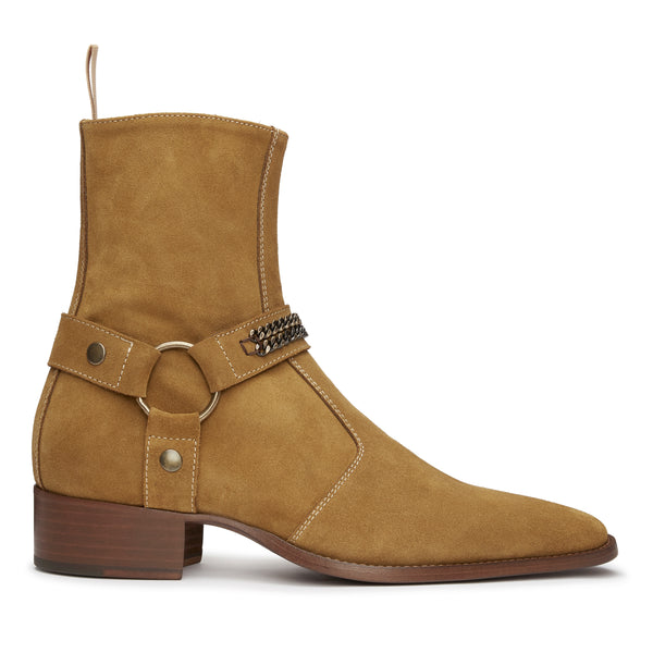 Enzo 40mm Chain Harness Zip Boot - Ochre Suede