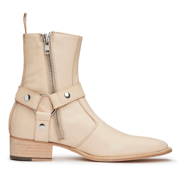 Enzo 40mm Harness Zip Boot - Natural Leather