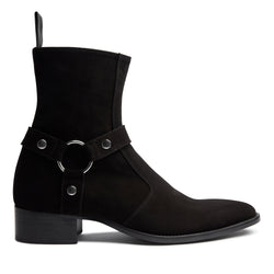 Enzo 40mm Harness Zip Boot - Black Suede