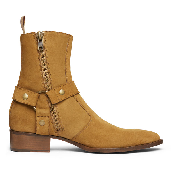 Enzo 40mm Harness Zip Boot - Ochre Suede