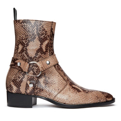Enzo 40mm Harness Zip Boot - Beige Snake-Effect