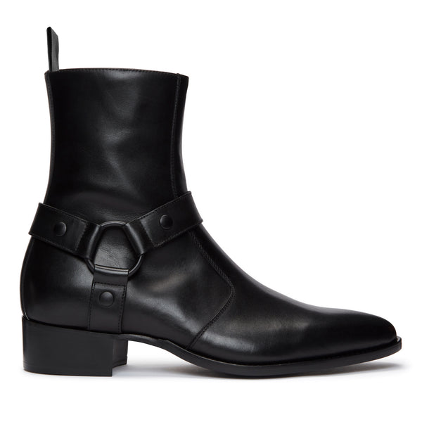 Enzo 40mm Harness (Concealed) Zip Boot - Black/Black Leather