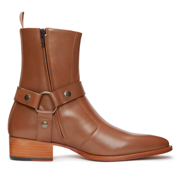 Enzo 40mm Harness (Concealed) Zip Boot - Brown Leather