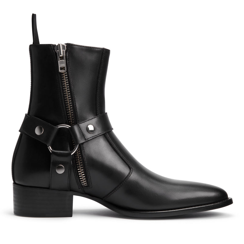 Enzo 40mm Harness Zip Boot - Black Leather