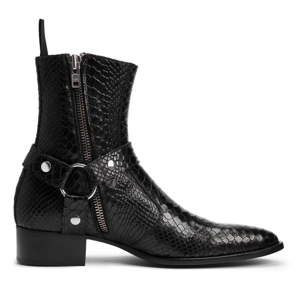Enzo 40mm Harness Zip Boot - Black Python Leather