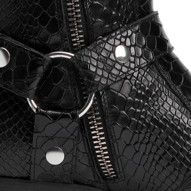 Enzo 40mm Harness Zip Boot - Black Python-Effect