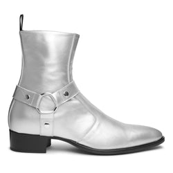 Enzo 40mm Harness Zip Boot - Silver Leather