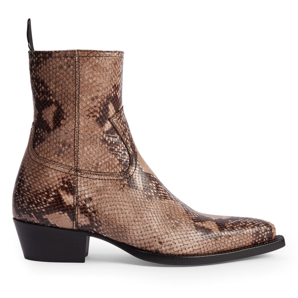 Diego 45mm Side Zip Western Boot - Beige Snake-Effect
