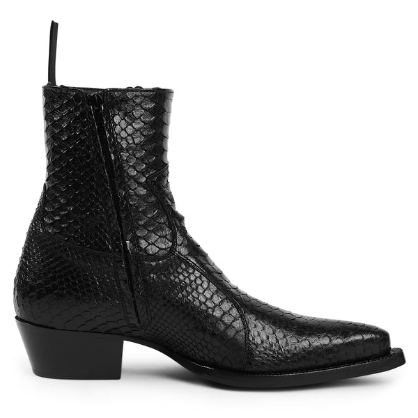 Diego 45mm Side Zip Western Boot - Black Real Python