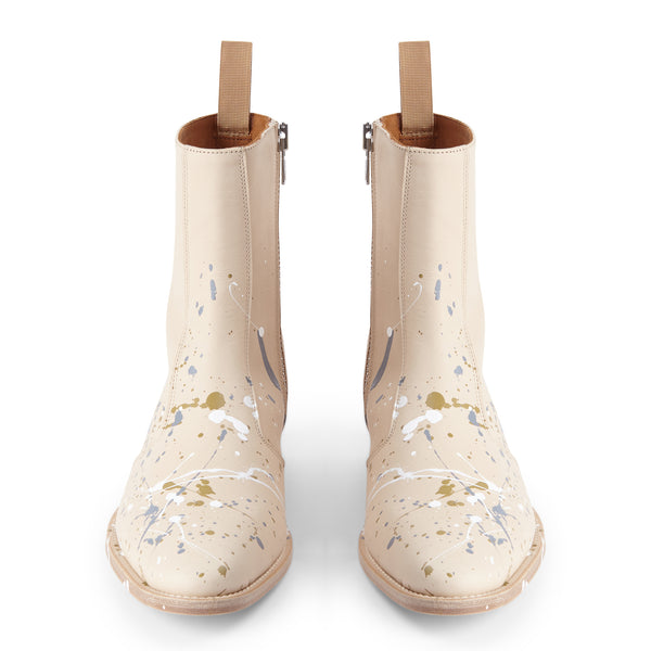 Luca 40mm Side Zip Boot - Natural Paint Splatter