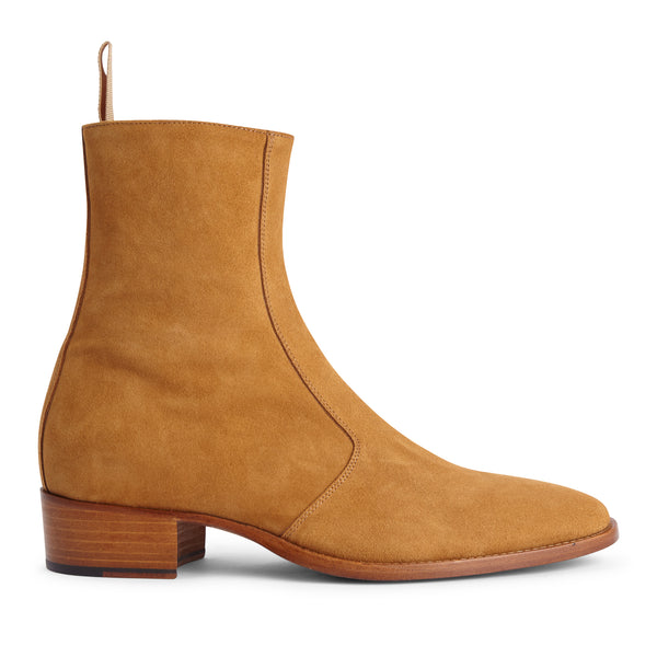 Luca 40mm Side Zip Boot - Camel Suede