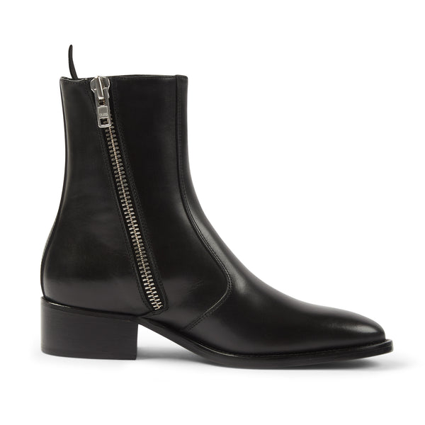 Womens Lucia 40mm Side Zip Boot - Black Leather