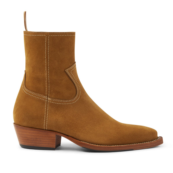 Womens Daria 45mm Side Zip Western Boot - Ochre Suede