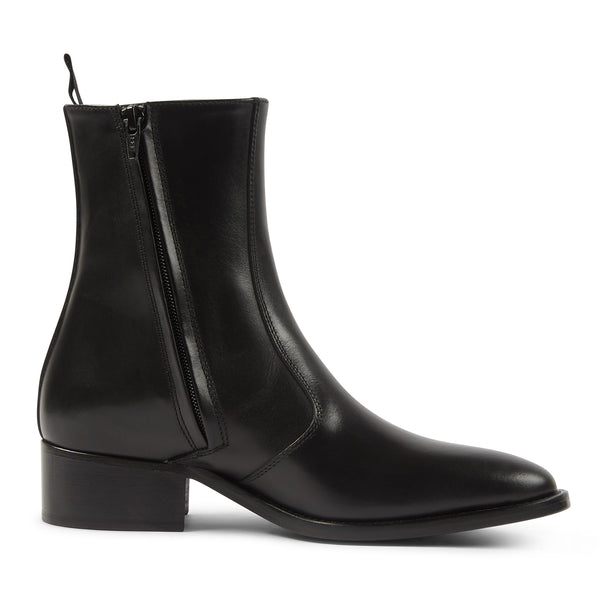Womens Lucia 40mm (Concealed) Side Zip Boot - Black Leather