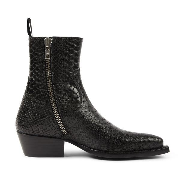 Womens Diego 45mm Side Zip Western Boot - Black Python-Effect