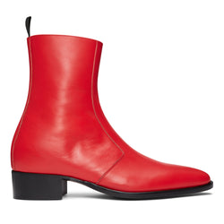 Luca 40mm Side Zip Boot - Red Leather