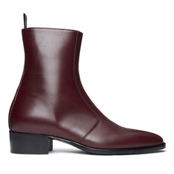Luca 40mm Side Zip Boot - Burgundy Leather