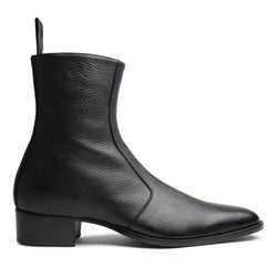 Luca 40mm Side Zip Boot - Black Deer Skin