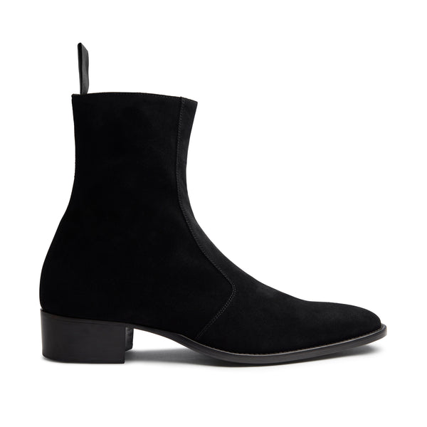 Womens Lucia 40mm Side Zip Boot - Black Suede