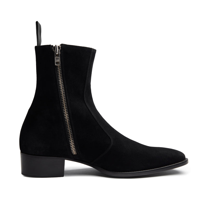 Lucia 40mm Side Zip Boot - Black Suede