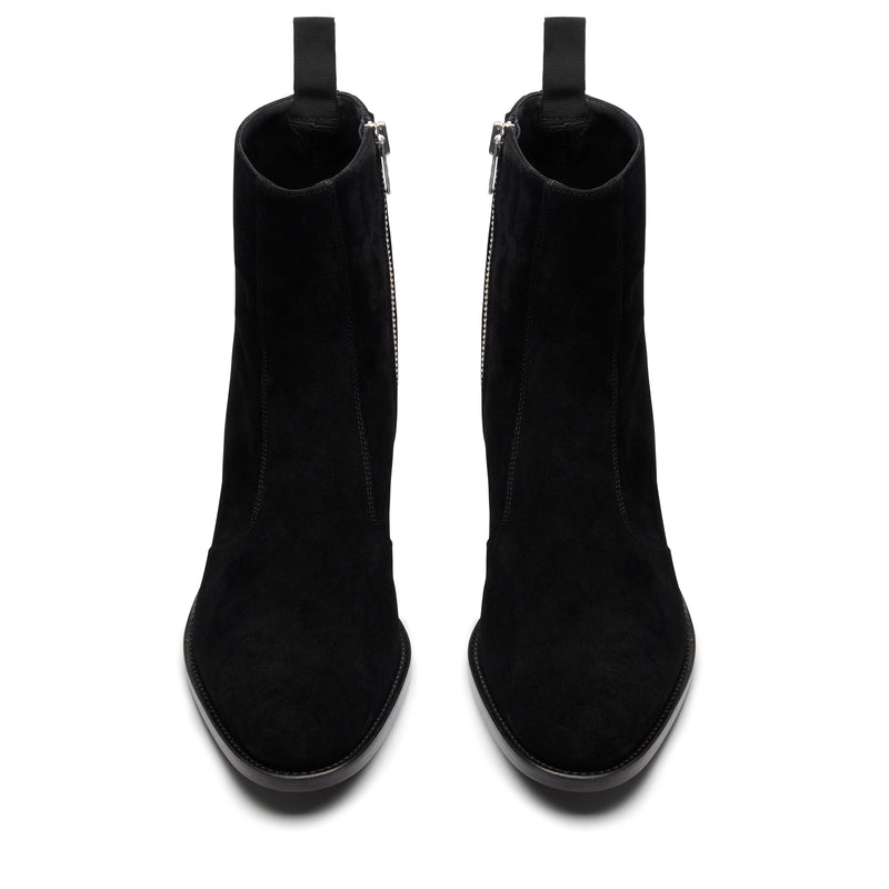Luca 40mm Side Zip Boot - Black Suede