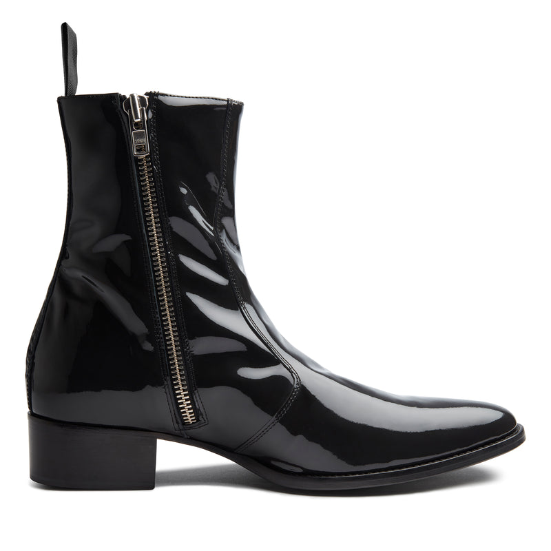 Luca 40mm Side Zip Boot - Smoke Patent Leather