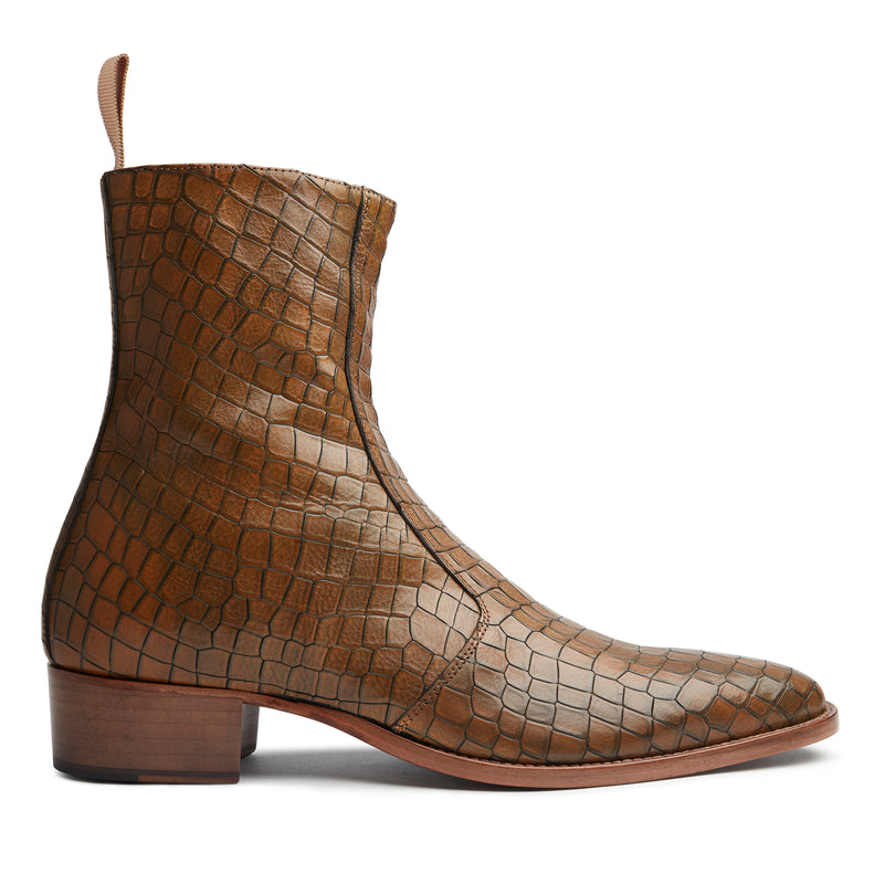 Luca 40mm Side Zip Boot - Tan Croc Leather