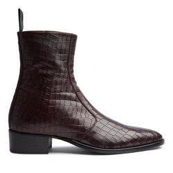 Luca 40mm Side Zip Boot - Bordeaux Croc Leather