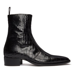 Luca 40mm Side Zip Boot - Black Croc Leather