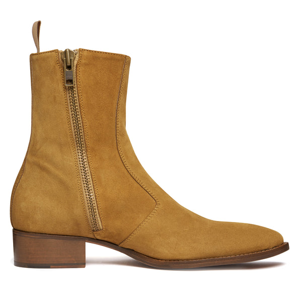 Luca 40mm Side Zip Boot - Ochre Suede