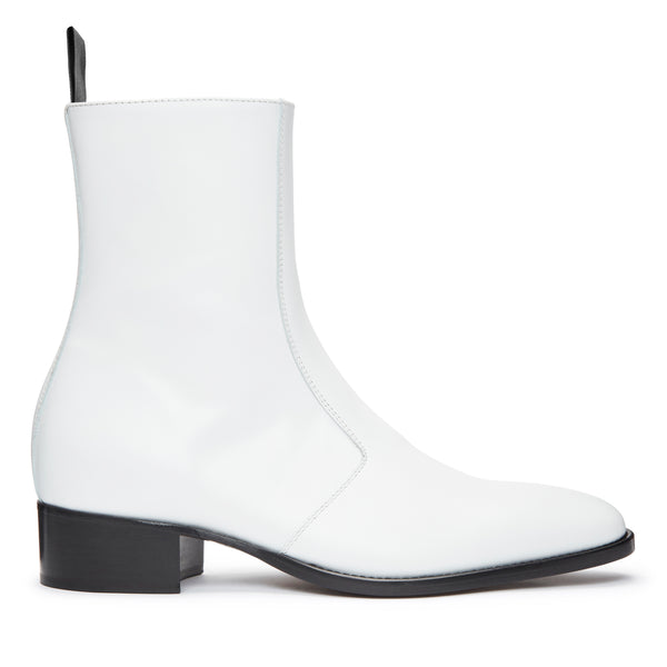 Luca 40mm Side Zip Boot - White Leather