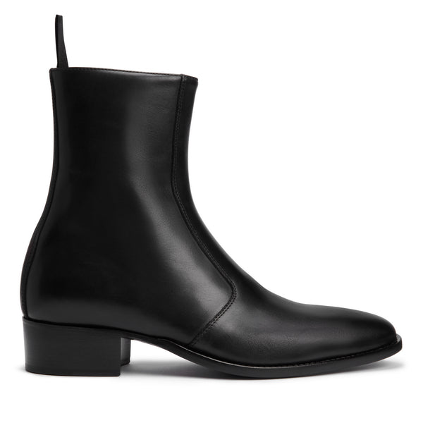 Luca 40mm Side Zip Boot - Black Leather