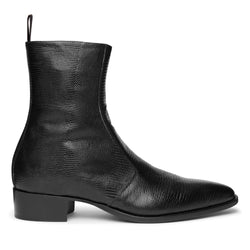 Luca 40mm Side Zip Boot - Black Lizard-Effect