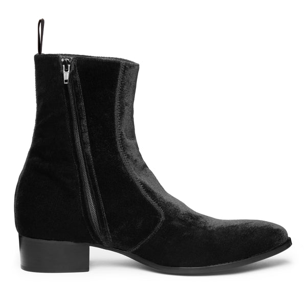 Luca 40mm Side Zip Boot - Black Velvet