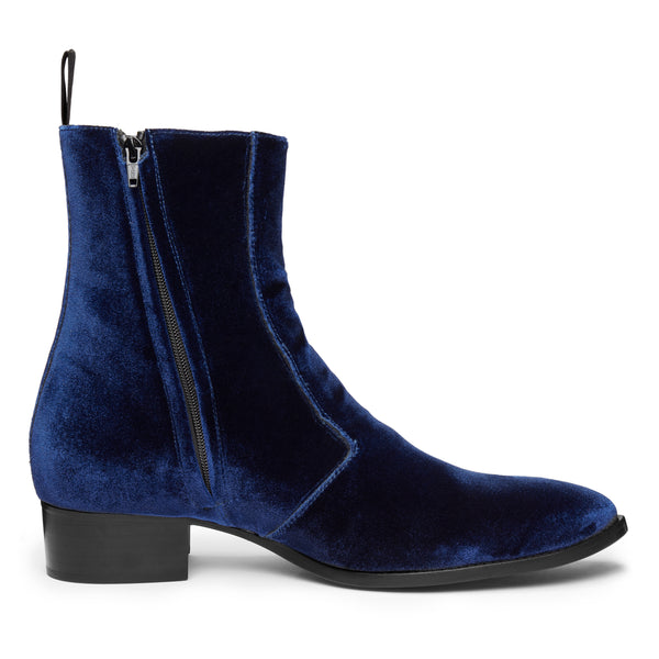 Luca 40mm Side Zip Boot - Marine Blue Velvet