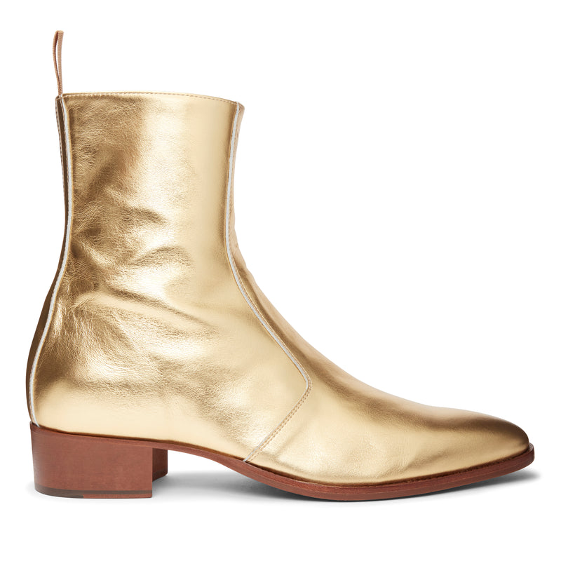 Luca 40mm Side Zip Boot - Gold Leather