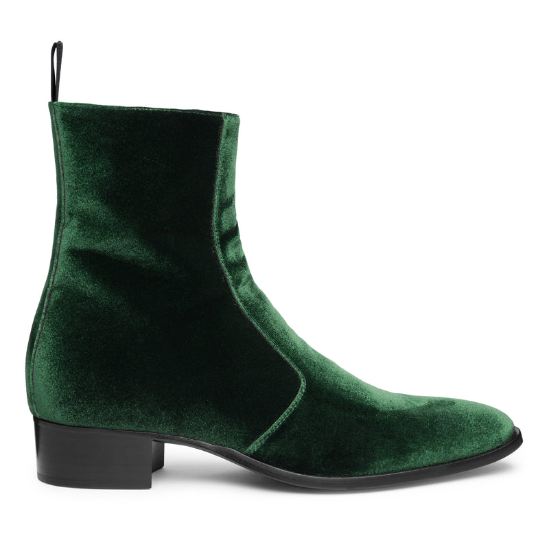 Luca 40mm Side Zip Boot - Green Velvet