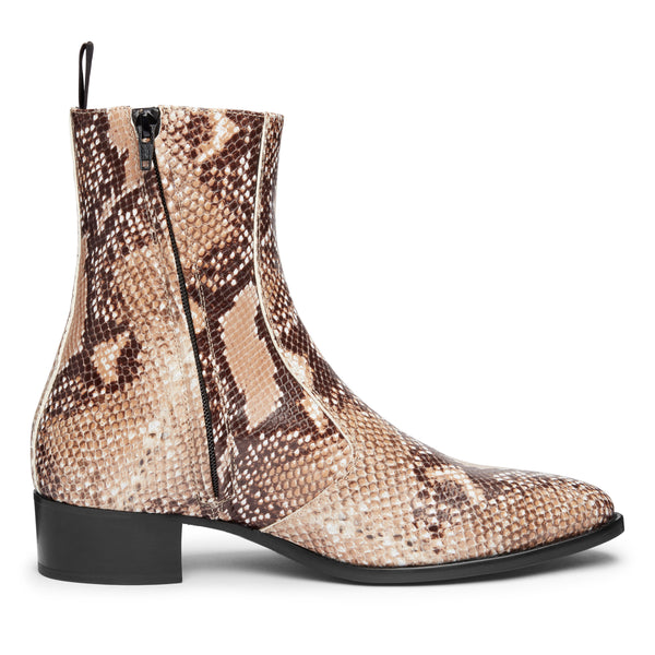 Luca 40mm Side Zip Boot - Beige Snake-Effect