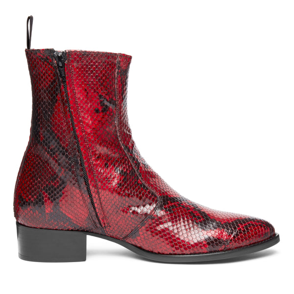 Luca 40mm Side Zip Boot - Red Snake Leather