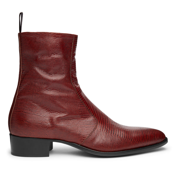 Luca 40mm Side Zip Boot - Marron Lizard-Effect