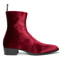 Luca 40mm Side Zip Boot - Burgundy Red Velvet