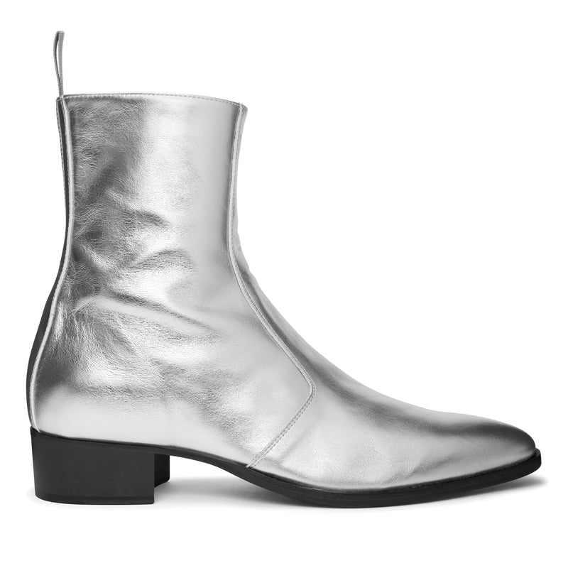 Luca 40mm Side Zip Boot - Silver Leather