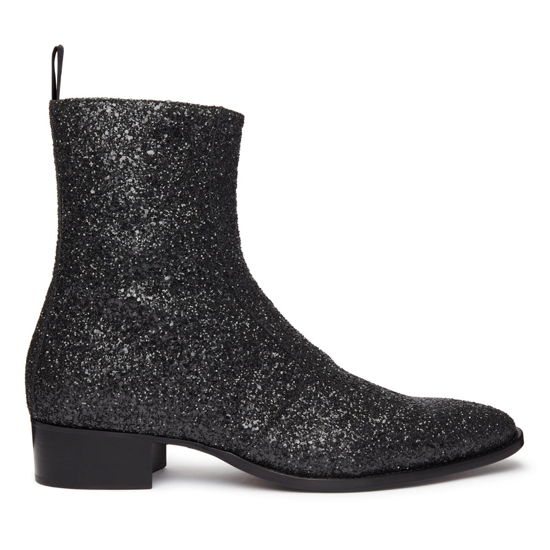 Luca 40mm Side Zip Boot - Black Glitter