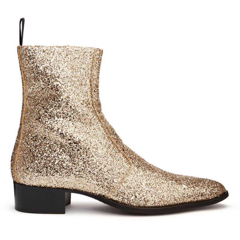 Luca 40mm Side Zip Boot - Gold Glitter