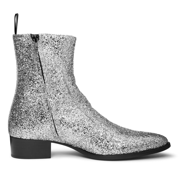 Luca 40mm Side Zip Boot - Silver Glitter