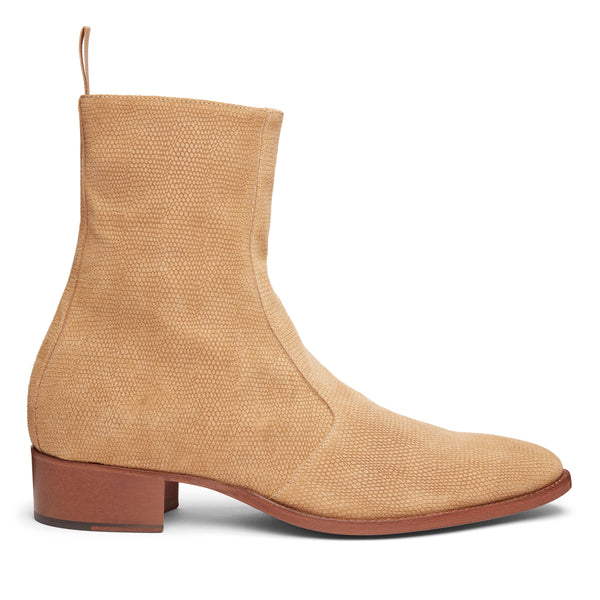 Luca 40mm Side Zip Boot - Lizard-Effect Suede